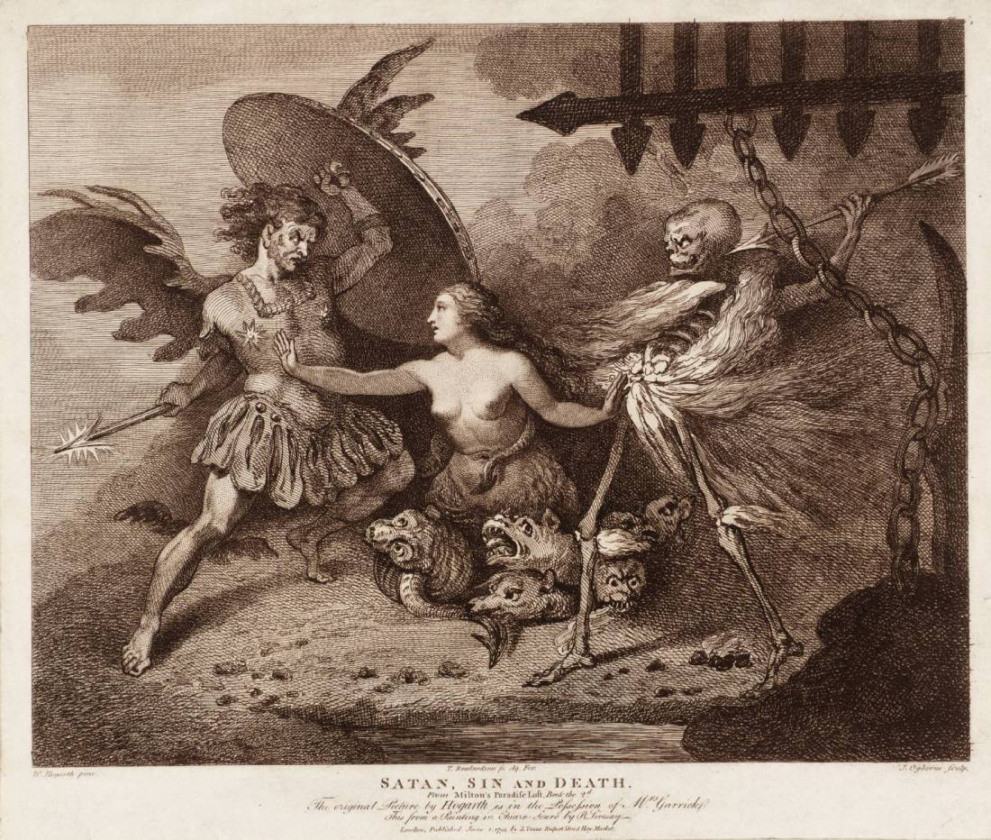 Satan, Sin and Death, engraved by Thomas Rowlandson and John Ogbourne after T00790 1792 by William Hogarth 1697-1764